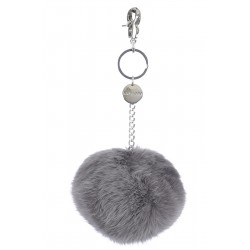 62161 - GREY KEYRING POMPON RABBIT FUR