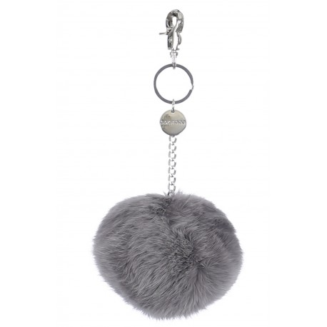 GREY KEYRING POMPON RABBIT FUR