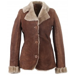 59525 - VESTE EN MOUTON DOUBLE FACE TOBACCO