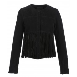 61919 - JACKET FRINGE SUEDE BLACK