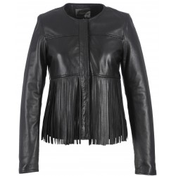 61954 - JACKET FRINGE LEATHER BLACK