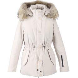 WHITE PARKA NATURAL FUR HOOD