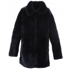 62439 - DARK BLUE REAL FUR COAT