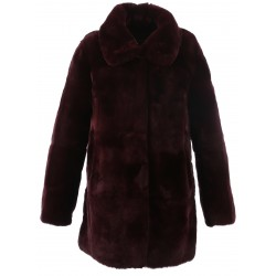 62439 - DARK RED REAL FUR COAT