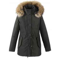 62424 - DARK KHAKI PARKA NATURAL FUR HOOD