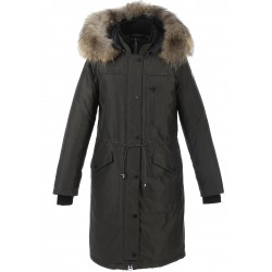 62425 - DARK KHAKI PARKA NATURAL FUR HOOD