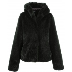 62407 - GREEN FAKE FUR JACKET WITH HOOD