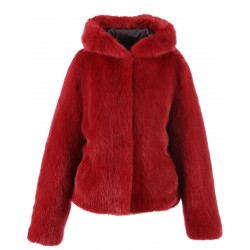 62407 - RED FAKE FUR JACKET WITH HOOD