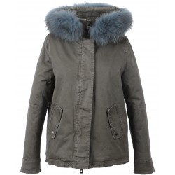 62382 - ICE BLUE FUR HOODED PARKA GREY
