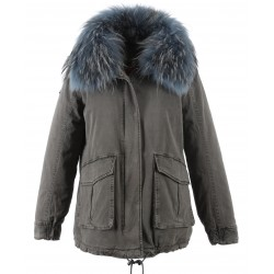62386 - GREY COTTON JACKET WITH BLUE FUR