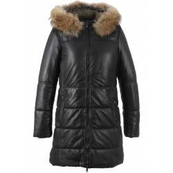 62483 - NOIR LEATHER DOW JACKET WITH HOOD