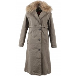 62387 - LONG COAT LIGHT KAKI WITH LIGHT ORANGE FUR