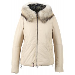 62479 - IVORY COLOURED DOWN JACKET WITH HOOD