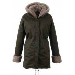 62389 - MASTIC FAKE FUR DARK KHAKI PARKA PLANET