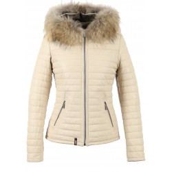 61677 - IVORY DOWN JACKET NATUREL FUR HOOD HAPPY