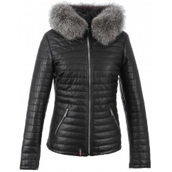 62126 - BLACK DOWN JACKET SILVER FUR HOOD HAPPY