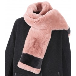 62700 - PINK/GREY REAL FUR SCARF SQUARE ISLAND BI