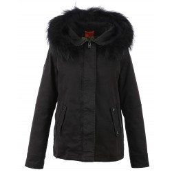 62379 - BLACK FUR HOODED PARKA BLACK CHIARA