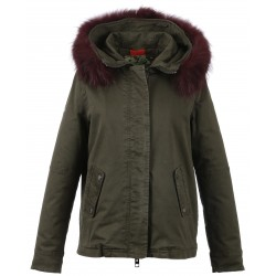 62380 - BURGUNDY FUR HOODED PARKA DARK KHAKI CHIARA