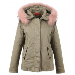 62381 - PINK FUR HOODED PARKA LIGHT KHAKI CHIARA