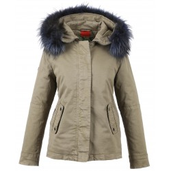 62381 - DARK BLUE FUR HOODED PARKA LIGHT KHAKI CHIARA