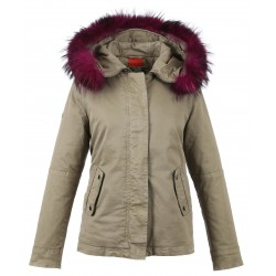 62381 - FUSHIA FUR HOODED PARKA LIGHT KHAKI CHIARA