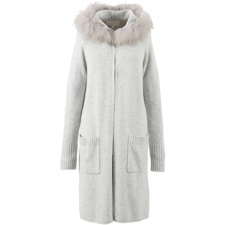 62644 - LONG GILET LAINE GRIS CHINE YEAR