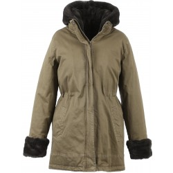 62388 - DARK GREY FAKE FUR LIGHT KHAKI PARKA PLANET