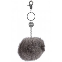 62161 - DARK GREY KEYRING POMPON RABBIT FUR