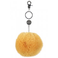 62161 - YELLOW KEYRING POMPON RABBIT FUR