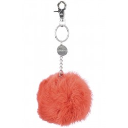 62161 - ORANGE KEYRING POMPON RABBIT FUR