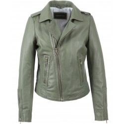 62325 - LIGHT KHAKI LEATHER JACKET