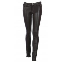 CHOCOLATE JEANS TROUSERS STRETCH LEATHER PANDORA
