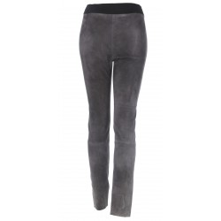 LEGGING CUIR SUEDE STRETCH GRIS
