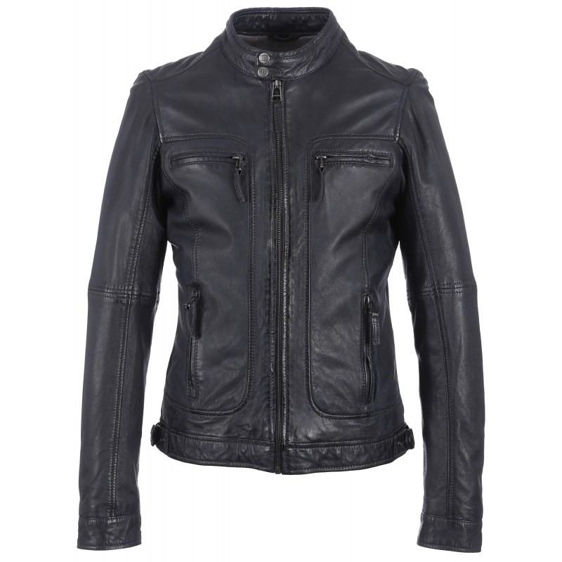 60901 blouson casey bleu marine oakwood the leather brand. Black Bedroom Furniture Sets. Home Design Ideas