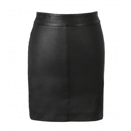 Lili Ref 63242 Noir Jupe Crayon En Cuir Veritable Stretch Oakwood The Leather Brand