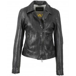 63169 - BLACK LEATHER JACKET FIDJI