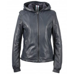 63244 - NAVY BLUE LEATHER JACKET CHILL 2e72c5cbabd