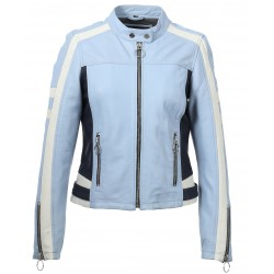 63128 - SKY BLUE LEATHER JACKET GIGI