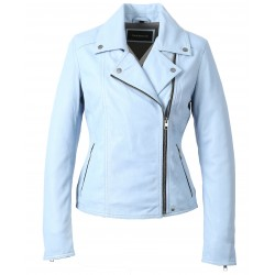 63132 - SKY BLUE LEATHER JACKET MELINA