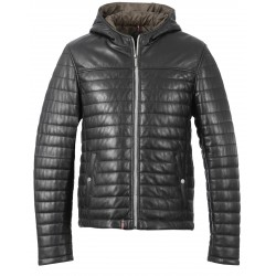 ULTRALIGHT BLACK LEATHER DOWN JACKET