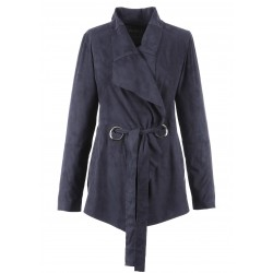 VILLA (REF. 63222) NAVY BLUE - SUEDETTE WATERFALL JACKET