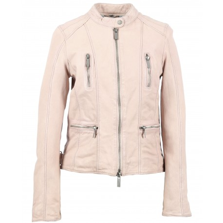 4ff4a8bec701 62261 - BLOUSON CUIR CALYPSO ROSE CLAIR - OAKWOOD - THE LEATHER BRAND