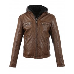 DRINK (REF. 63036) TAN - LEATHER JACKET WITH REMOVABLE HOOD