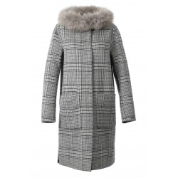YALE BI (REF. 62178) TARTAN/GREY - LONG REVERSIBLE WOOL COAT