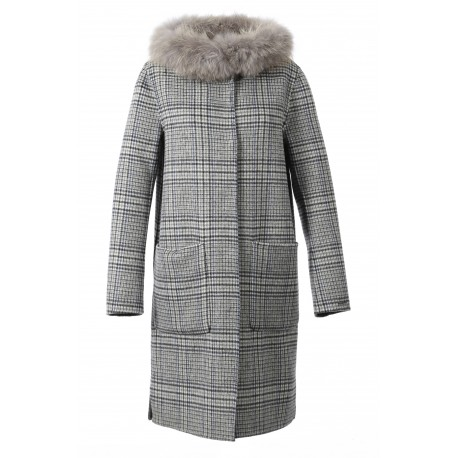 YALE BI (REF. 62178) CARREAUX/GRIS - MANTEAU LONG EN LAINE RÉVERSIBLE