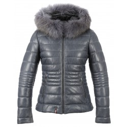 JELLYTA (REF. 63417) BLUE - TWO-TONE HOODED GENUINE LEATHER DOWN JACKET WITH FUR