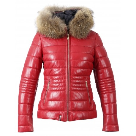 JELLY (REF. 62941) RED - HOODED GENUINE LEATHER DOWN JACKET WITH FUR