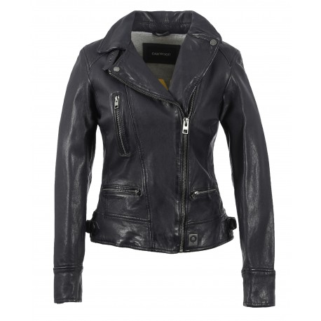 VIDEO (REF. 62065) NAVU BLUE - WASHED LOOK GENUINE LEATHER JACKET