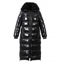 SPIRIT (REF. 63329) BLACK - SHINY NYLON LONG DOWN JACKET WITH REAL FUR COLLAR